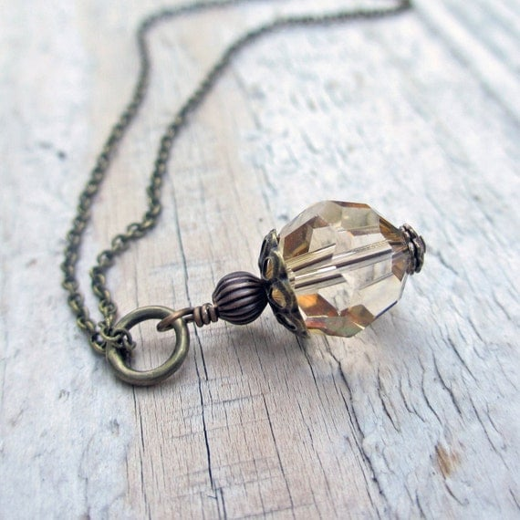 Antiqued Brass Crystal Necklace - Swarovski Crystal, Golden Shadow, Victorian, Wedding, Vintage Style Ready to Ship