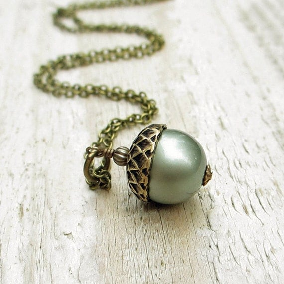 Acorn Necklace, Pearl Acorn Pendant Necklace, Acorn Charm, Antiqued Brass, Swarovski Pearl, Powder Green, Autumn Jewelry Gift under 30
