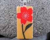SALE Red Blossom - A Mini Domino Necklace in a Tin