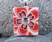 Maroon Bloom - A Scrabble Tile Necklace in a tin