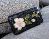 SALE Elegant Bloom - A Bamboo Tile Necklace on a leather cord