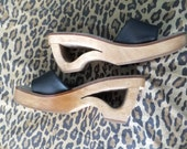 90s  wooden cutout platforms / 70s-style black and wood platforms  / summery wooden wedges