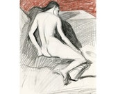 Original Charcoal Drawing of Nude Female - Vanessa Leaning on the Stage in Color