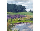 Original Plein Air Landscape Oil Painting of a Pond with Lavender, Trees on a Gray Day - Blue Heron Pond