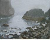 Original Framed Oil Painting of  Pacific Ocean Oregon Sea Shore:  Gray Day at Harris Beach