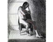 Original Charcoal Drawing of Male Nude in Deep Contemplation - Memories