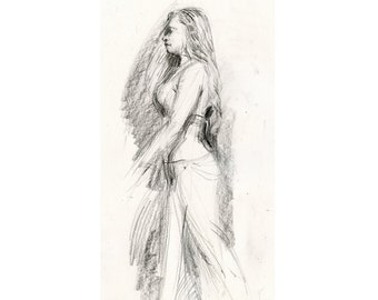 Maia in Profile - Original Charcoal Life Drawing Gesture Sketch of Female Belly Dancer