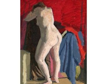 SALE Original Oil Painting of a Standing Nude Female Figure: Grief