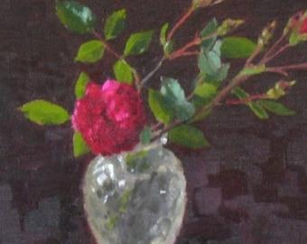 Miniature Rose: Original Floral Oil Painting by Sarah F Burns