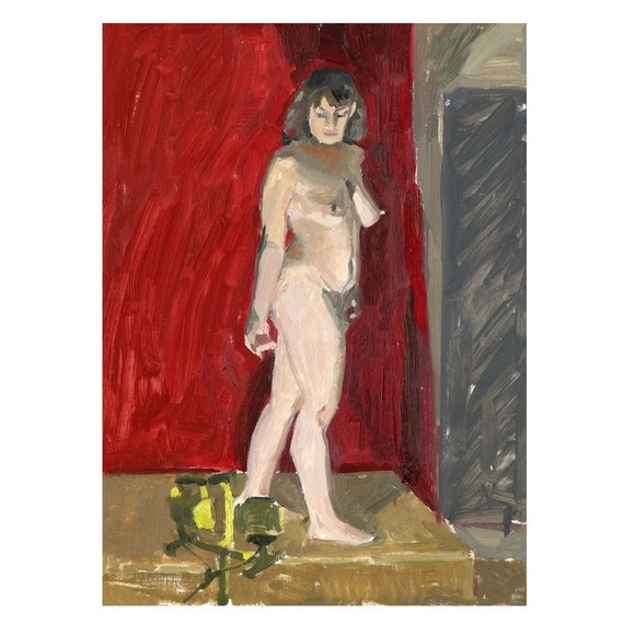 SALE Original Oil Painting of Standing Nude Female Figure: Jewel and the External Flame