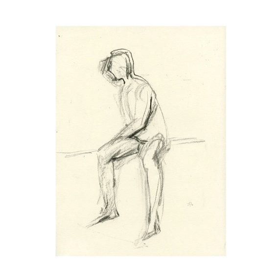 Original Charcoal Figure Life Drawing Male Nude Gesture Sketch - Patrick, Seated