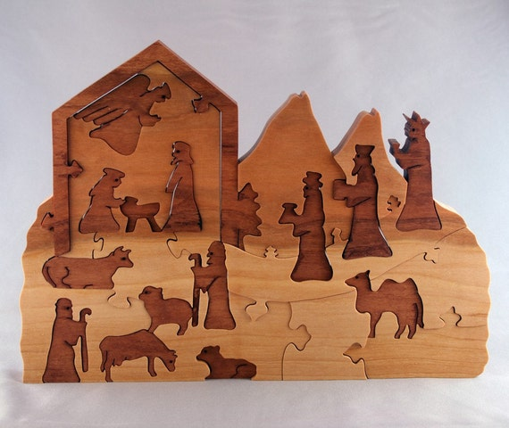RESERVE for Mary Petro Smith- Nativity, wooden advent calendar puzzle