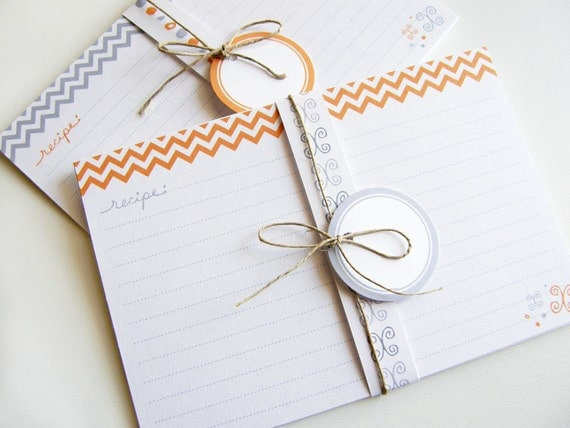 Printable and Editable Recipe Cards and Matching Gift Tags (PDF 4x6 or 3x5 double sided) - ORANGE Chevron