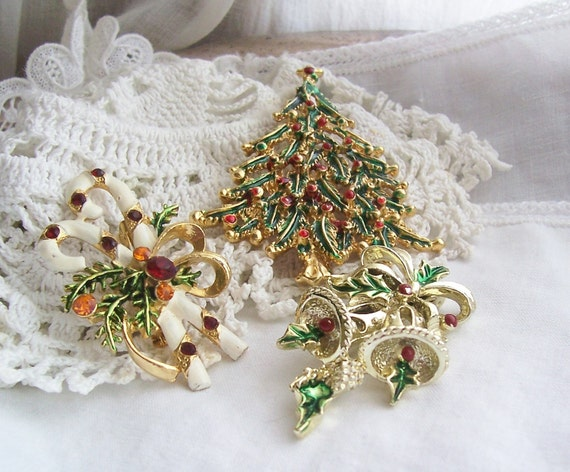 Vintage Christmas Brooches - Enamel Christmas Tree, Candy Canes and Bells