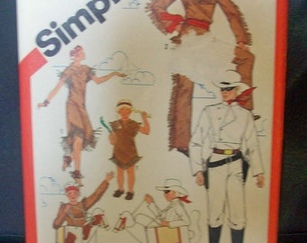 Simplicity 5298 Sewing Pattern Lone Ranger, Tonto, Silver and Scout Costumes