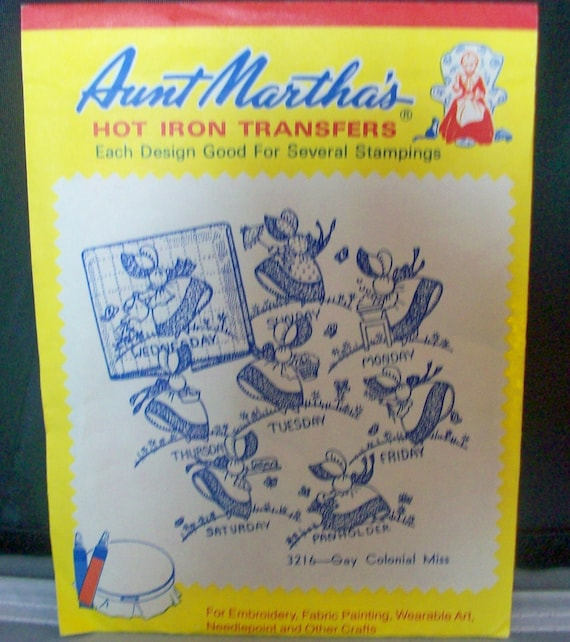 Aunt Martha's Hot Iron Transfers 216 Gay Colonial Miss Stamping Pattern