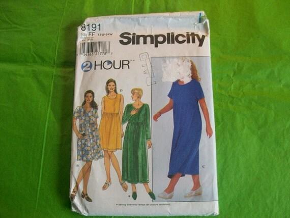 Simplicity 8191 Womens Knit Dress  Sewing Pattern