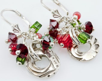 Christmas Confetti fine silver circle earrings