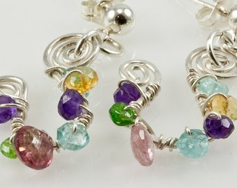All Wrapped Up...Spiral Gemstone Colorful Sterling Earrings