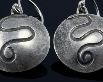 Circles and Swirls Sterling Silver Earrings