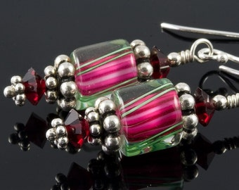 Pink and Green Striped Cane Glass Swarovski Earrings
