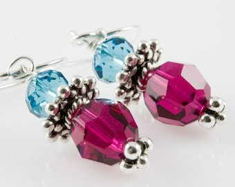 Sassy...Rich Bold Swarovski Crystal Bali Silver Earrings