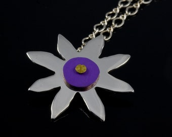 Colored Center Sterling Silver Flower