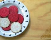 Fleur de Lis Vintage French Red White Poker Chips