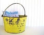 Large Vintage Chippy Yellow Galvanized Tub