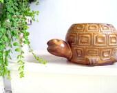 Vintage McCoy Mid Century Pottery Smiling Turtle Planter Excellent Condition