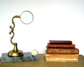 RESERVED FOR H.  Antique Magnifying Glass Stand Brass Adjustable Steampunk