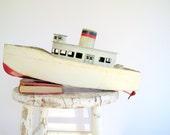 Vintage Model Boat Handmade Metal Folk Art Toy