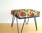 RESERVED FOR KELLY Mid Century Hairpin Leg Stool Ottoman