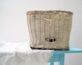 Vintage Wicker Bike Basket / Farmhouse Organization Storage / Spring Home Decor