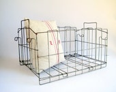 Vintage Large  Wire Folding Crate with Handles / Industrial Home Organization Storage