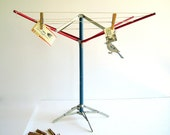 RESERVED Vintage Laundry Toy Clothesline & Wood Clothespins /  Repurposed Industrial Home Decor