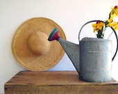Vintage Galvanized Metal Watering Can Zinc with Spout / Cottage Garden / French Country Home