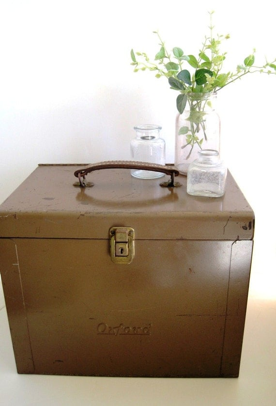 Large Vintage Metal File Box With Leather Handle By