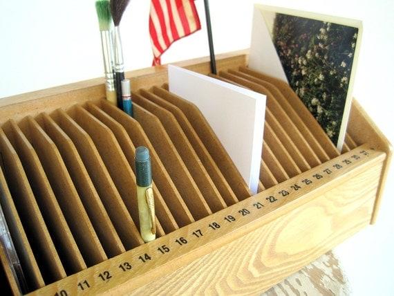Mid Century Vintage Desktop Mail Sorter Bill File
