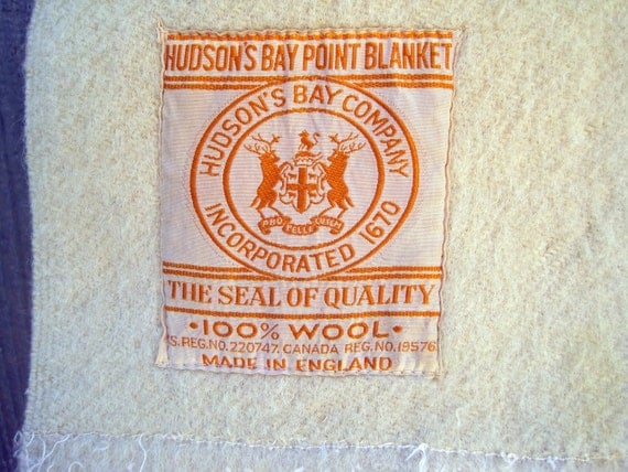Hudson Bay 4 Point Blanket Made In England All Wool 1940s