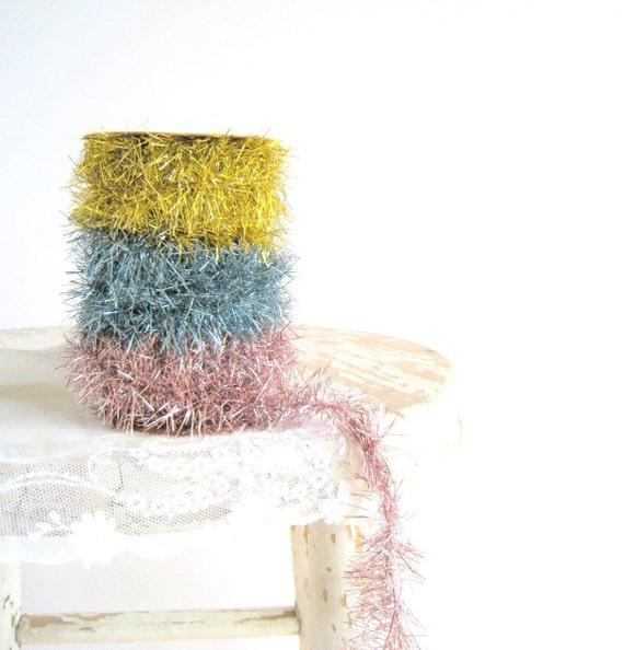 RESERVED Spring Pastel Tinsel Garland / Shabby Chic Spring Home Decor
