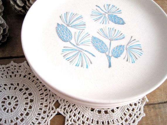 Mid Century Stoneware Plates / Turquoise Minimalist Set 6