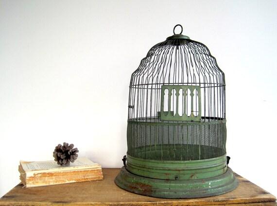 Antique Birdcage Dome Cloche Rustic Green
