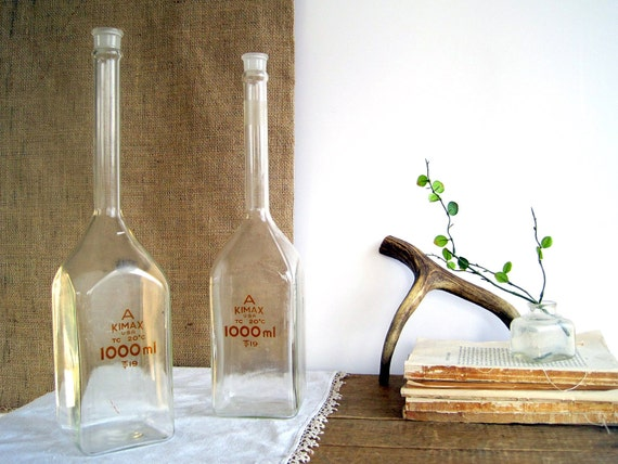 SALE Vintage Apothecary Lab Flasks Bottle / Industrial Home Decor