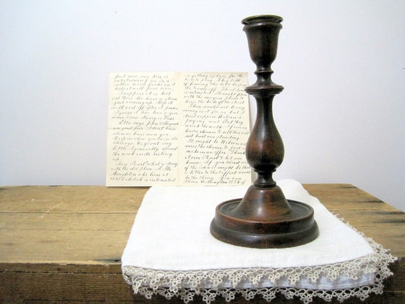 SALE Antique Mahogany Turned Wood Candlestick Brass Insert Farmhouse Chic