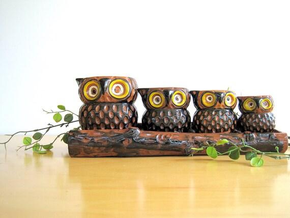 Vintage Owl Measuring Cups Complete Set Ceramic Japan