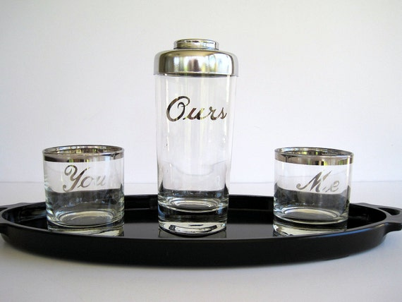 Vintage Cocktail Barware Set You Me Ours Silver Ombre