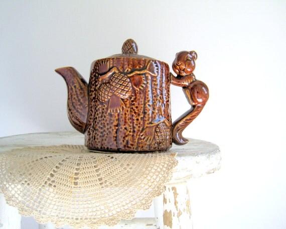 Vintage Woodland Squirrel Teapot Marked Japan