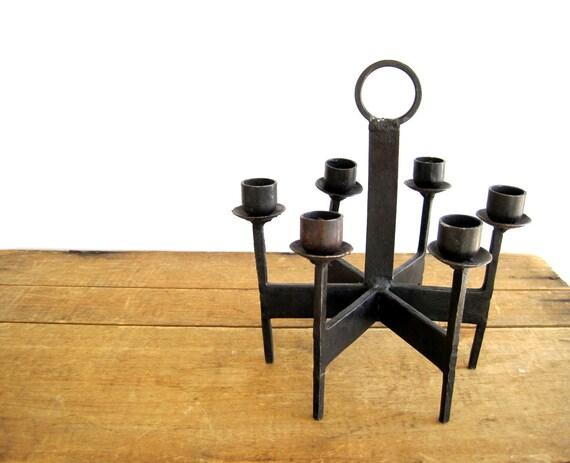 Mid Century Danish Modern Dansk Style Iron Candle Holder Candelabra