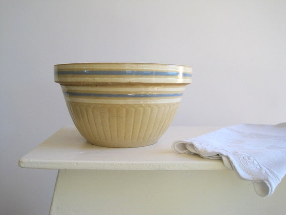 Yellow Ware Pottery Farmhouse Kitchen Mixing Bowl